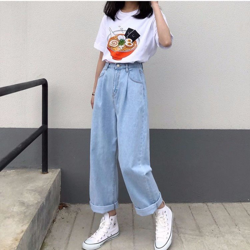 Women Fashion Eastic Waist Ankle Length Denim Pants Loose Straight Trousers For Student Casual All Match Blue Black Jeans Xa100f Jeans Aliexpress