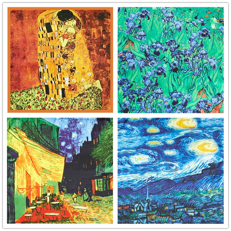 Retro Van Gogh Oil Painting Silk Scarf Bandanna Women Scarf Fashion Foulard Scarves Classic Art Neckerchief Printed Handkerchief
