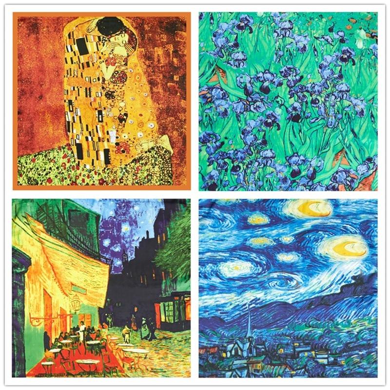 Retro Van Gogh Oil Painting Silk Scarf Bandanna Women Scarf Fashion Foulard Scarves Classic Art Neckerchief Printed Handkerchief