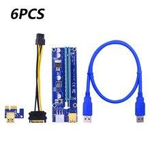 6pcs Golden VER009 USB 3.0 PCI-E Pcie Riser VER 009S Express 1X 4x 8x 16x Extender Riser Adapter Card Riser SATA per scheda Video