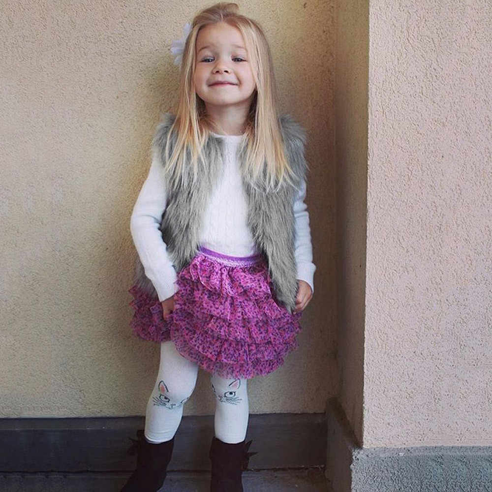 Taklit kürk yelek kalın ceket kolsuz katı yelek çocuklar için yürüyor çocuk bebek kız sonbahar kış sıcak giyim dış giyim