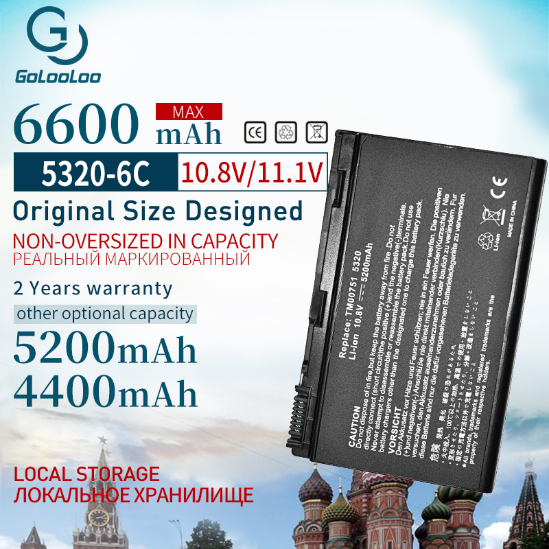 4400mah Laptop Battery For ACER Extensa 5210 5220 5230 5420 5610 5620 5630 7220 7620 For TravelMate 5320 5520 5530 5710 GRAPE32