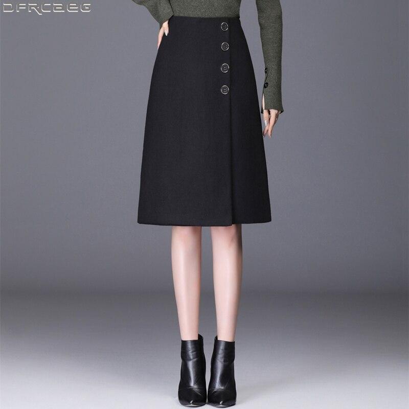 Retro Autumn Winter Wool Women Skirt Vintage High Waist Single-breasted Jupe Femme Bodycon Office Ladies Skirts Brown Black Gray