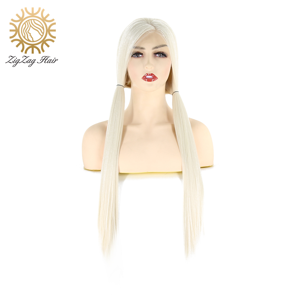 ZigZag Platinum Blonde Wig Side Part Straight Long Synthetic Lace Front Wigs For Black Women Heat Resistant Fiber Daily Wearing