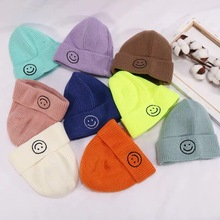Dla dzieci wełniane czapki Korea południowa jesień i zima nowy ciepło uśmiechnięta twarz czapki z dzianiny swetry czapki chłopcy i dziewczęta czapki cukierki tanie tanio Acrylic Unisex Stałe Skullies czapki