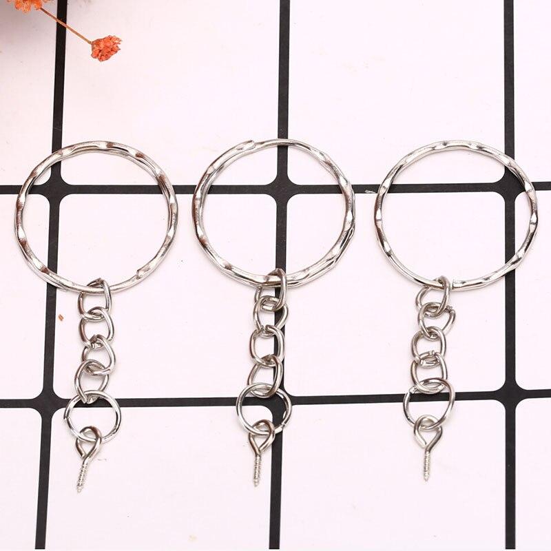 40Pcs /set Polished Key Ring Screw Eye Short Chain Split Ring Connector DIY Jewelry  Keychain Keyfob Accessories 2