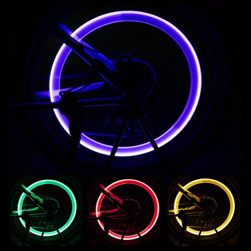 Купить с кэшбэком LED Bike Wheel Light Water Resistant Shockproof Tires Valves Cap Lamp For Mountain Road Bicycle Motorcycle Cars Supplies Items