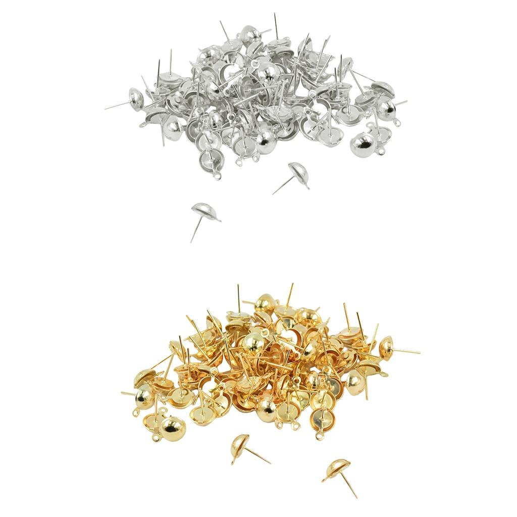 200x DIY Earring Making Findings Ear Stud Earrings Blanks Base Settings Crafts Supply Unique Yourself 15 X 9 Mm