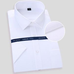 Image 2 - Camisa social masculina de manga curta, alta qualidade, não ferro, branco, azul, casual, social, tamanho grande 6xl 7xl 8xl