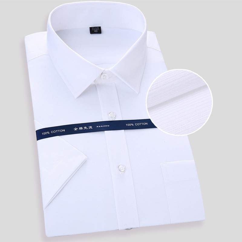 High Quality Non-iron Mens Short Sleeved Dress Shirt White Blue Casual Male Social Regular Fit Plus Size 6XL 7XL 8XL