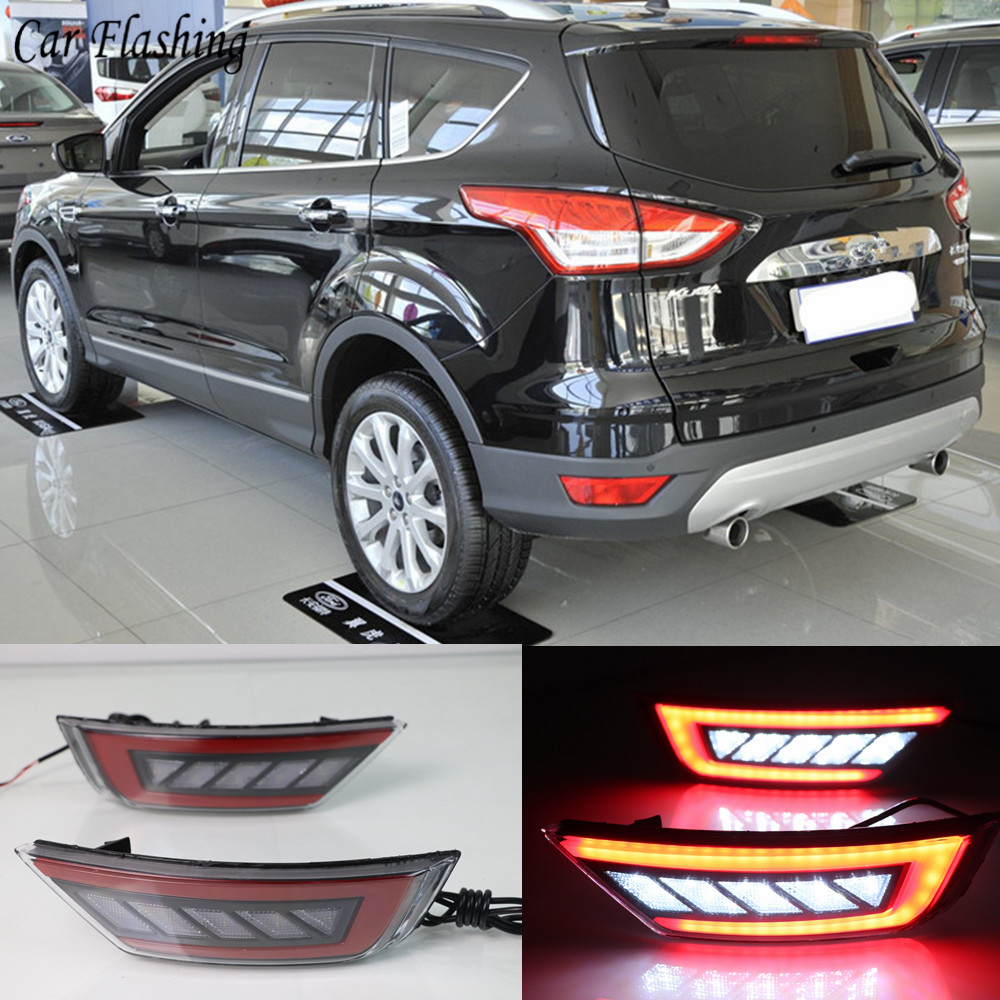 ABS Chrome Exterior Rear Fog Lamp Cover Trim Fit For Ford Escape Kuga 2013-2018