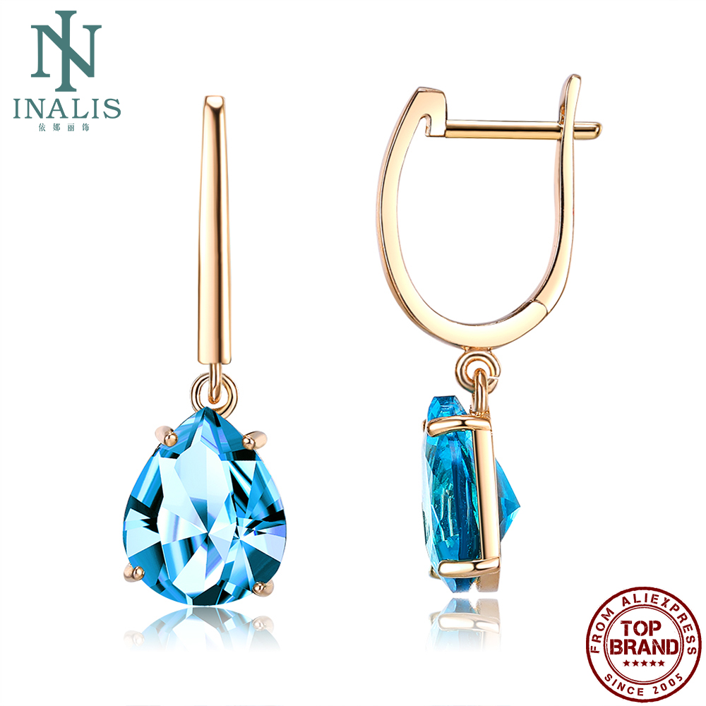 INALIS Drop Earrings For Women Copper Champagne Gold Plated Blue Earring Engagement Fashion Jewelry Hot Sale Gift To Girlfriend