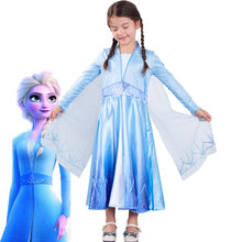 2019 Frozen 2 Girls Elsa Party Princess vestido Cosplay Elsa disfraz de manga larga vestidos azules para niños fantasía Ball Anna vestidos(China)