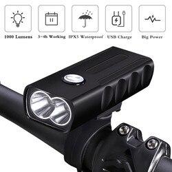 WasaFire BX2 lampa rowerowa T6 L2 lampa przednia do roweru LED USB akumulator MTB przednie światła 1000 lm 2600mAh rowerowa latarka czołowa