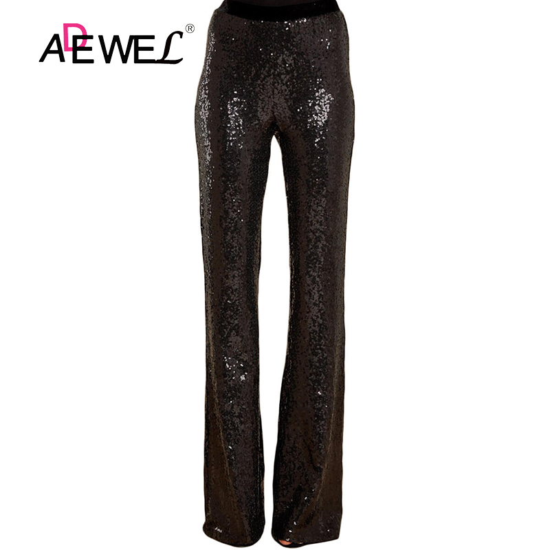 ADEWEL 2019 Black Long Wide Leg Sequins Pants Womans Glitter Silver High Waist Trousers For Female Party Dance Flared Legs Pants