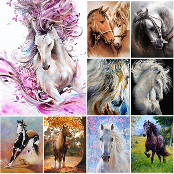5D DIY Diamond Painting Full Square Horse Cross Stitch Embroidery Diamond Mosaic Animal Art Picture of Rhinestones Home Decor wall art 5d diy diamond embroidery rhino tail diamond painting cross stitch full diamond mosaic animals home decor craft picture