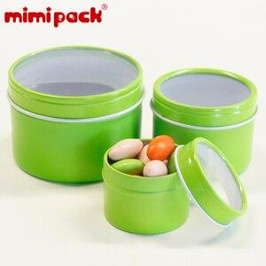 Image 5 - חבילה של 24 לשימוש חוזר עגול מתכת מזון אחסון מכולות mimipack Tinplate מיכל פח קופסות עם ברור מכסה עבור מתנות