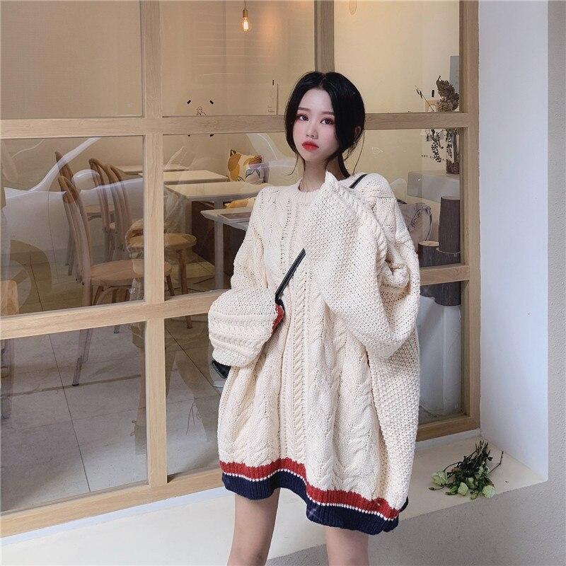 Sorte um outono longo oversized malha camisola feminina harajuku pulôver puxar femme hiver plus size streetwear plus size coreano