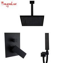 "Bagnolux Premium Quality Brass Black Bathroom 8"" Rain Shower Head Faucet Ceiling Shower Arm Diverter Mixer Handheld Spray Set"