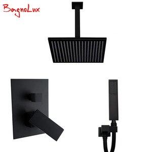 Image 1 - Bagnolux высококачественный латунный черный смеситель для ванной комнаты 8 дюймов с дождевой насадкой, потолочный душевой рычаг, переключатель, смеситель, ручной спрей