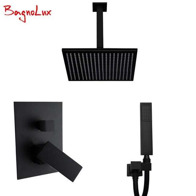 Bagnolux высококачественный латунный черный смеситель для ванной комнаты 8 дюймов с дождевой насадкой, потолочный душевой рычаг, переключатель, смеситель, ручной спрей