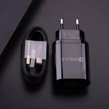 18 Вт QC 3,0 Быстрая зарядка через USB адаптер Micro USB Type C кабель для зарядного устройства для Samsung A10 A50 A70 A42 F41 M21 LG бархат 5G K42 K52 K62 зарядного устройст...