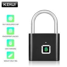 KERUI USB şarj edilebilir Anti Theft güvenlik anahtarsız elektronik parmak izi akıllı kilit asma kilit ev kapı çanta valiz kilidi