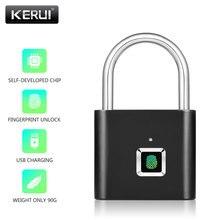 KERUI, candado de seguridad antirrobo recargable por USB, sin llave, electrónica con huella digital, cerradura inteligente para puerta de casa, bolsa para equipaje