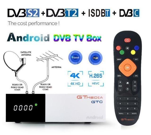 אנדרואיד 2GB RAM טלוויזיה דיגיטלית תיבת GTmedia GTC DVB T2 מקלט ISDB T DVB S2 לווין מקלט DVB C כבל 4K סט תיבה עליונה