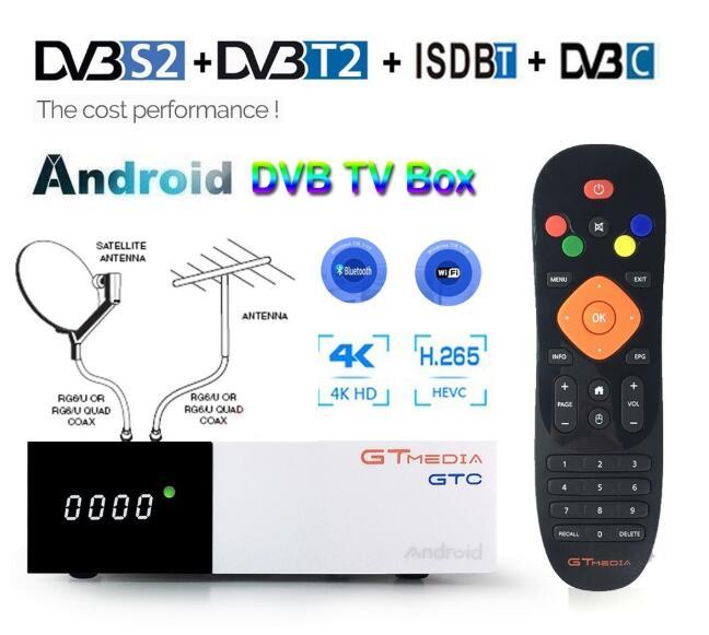 Android 2GB RAM Digital TV Box GTmedia GTC DVB-T2 Tuner ISDB-T DVB-S2 Satellite Receiver DVB-C Cable 4K Set Top Box