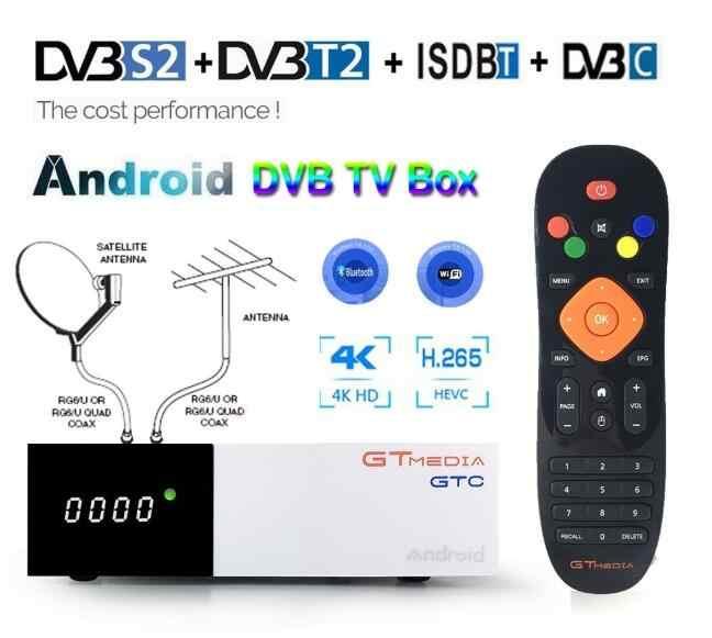 Android 2GB RAM boîte de télévision numérique GTmedia GTC DVB-T2 Tuner ISDB-T DVB-S2 récepteur Satellite câble de DVB-C 4K décodeur