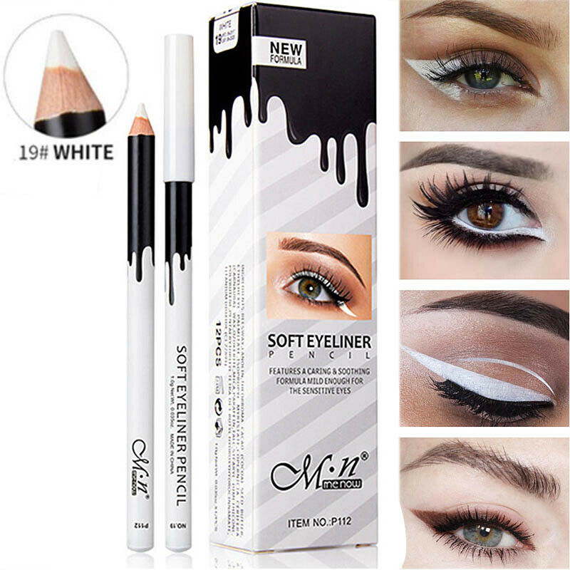 White Eyeliner Pencil Makeup Waterproof Smooth Soft Eye Liner Pen Brightener Easywear White Eyeliner Women Cosmetics
