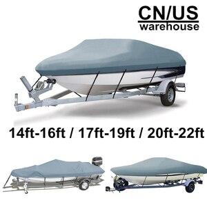 Image 2 - 14 22ft Trailerable 210D סירת כיסוי עמיד למים אפור דגים סקי V גוף Sunproof UV מגן סירת מרוץ סירת עגינה כיסוי d35