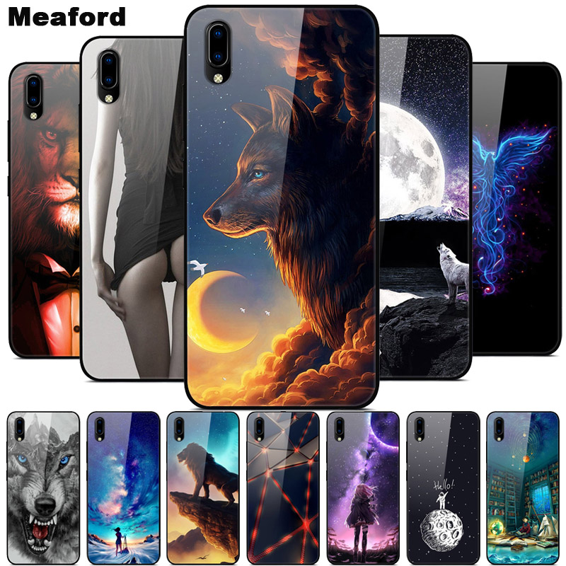 Luxury Cover Case for VIVO Y91C Tempered Glass Cover Silicone Phone Case for VIVO Y91C Y91 C Y93 Y91i Cases for Vivo Y91C Y 91C(China)