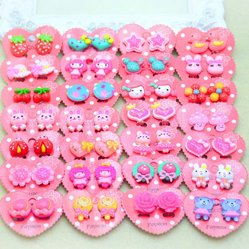 13 Style Children Cute Animal Flowers Ear Clip Creative Cartoon Girl Earring Clip Princess Sweet Clip Earring Jewelry Gift