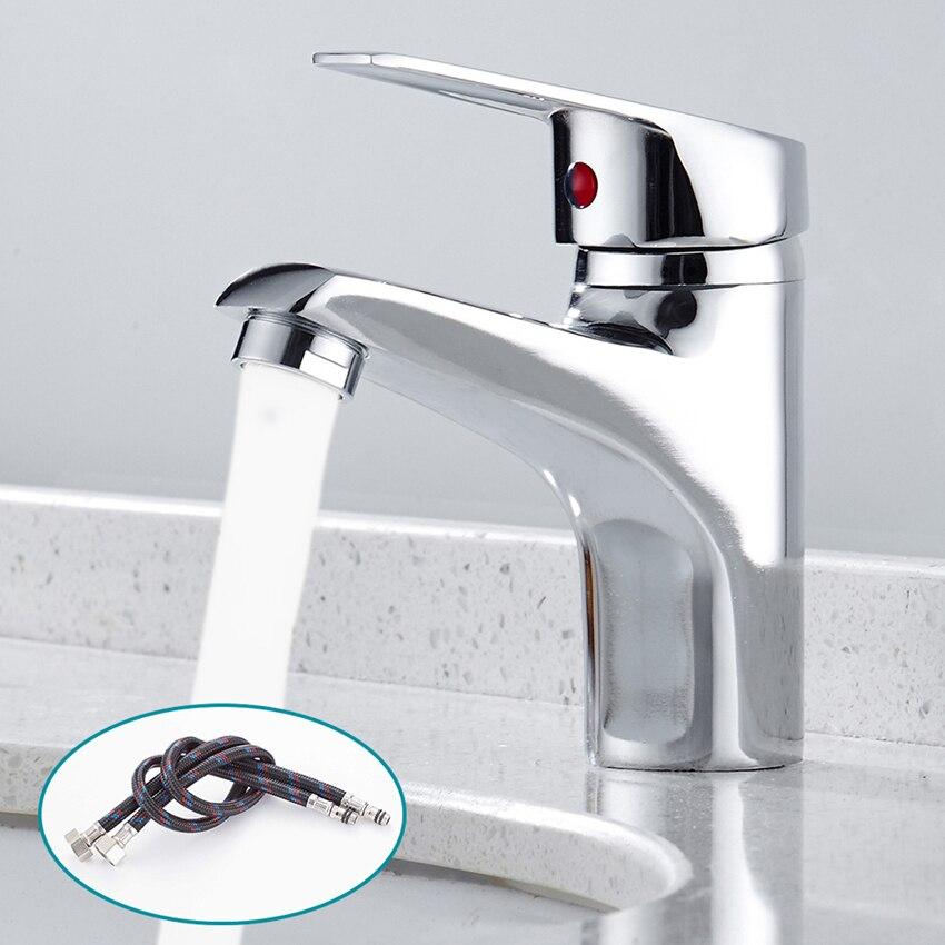 Роскошный смеситель для ванной комнаты, хромированный кухонный кран с одной ручкой, смеситель для горячей и холодной воды, хромированный ак...