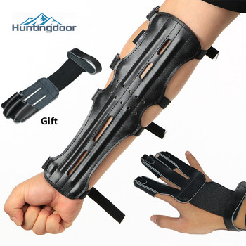 Black Cowhide Arm Guards Archery Hunting Hand Protector Outdoor Sports Shooting Training Accessories Guard Protection Forearm - discount item  35% OFF Sportswear & Accessories