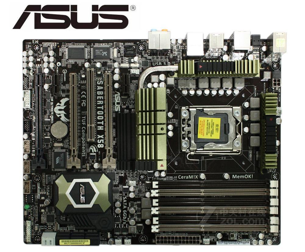 ASUS SaberTooth X58 carte mère originale LGA 1366 DDR3 pour Core i7 Extreme/Core i7 24GB utilisé carte mère de bureau ventes