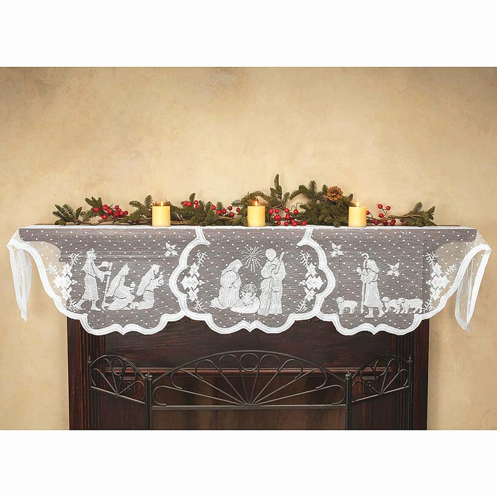 1pcs Christmas Lace Tablecloth Virgin Mary Religious Day Fireplace Cover Fashion Table Runner Furnace Cloth Home Party Supplies
