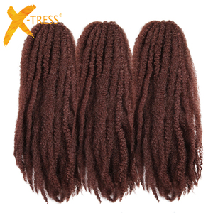 Soft Pure Color Afro Kinky Marley Braids Crochet Hair Extensions X-TRESS 18inch Low Temperature Fiber Synthetic Braiding Hair