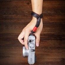 Correa de mano para cámara de cuero auténtico grueso, doble cara, hecha a mano, Original, para Sony Leica, Canon, Fuji, Nikon y Olympus