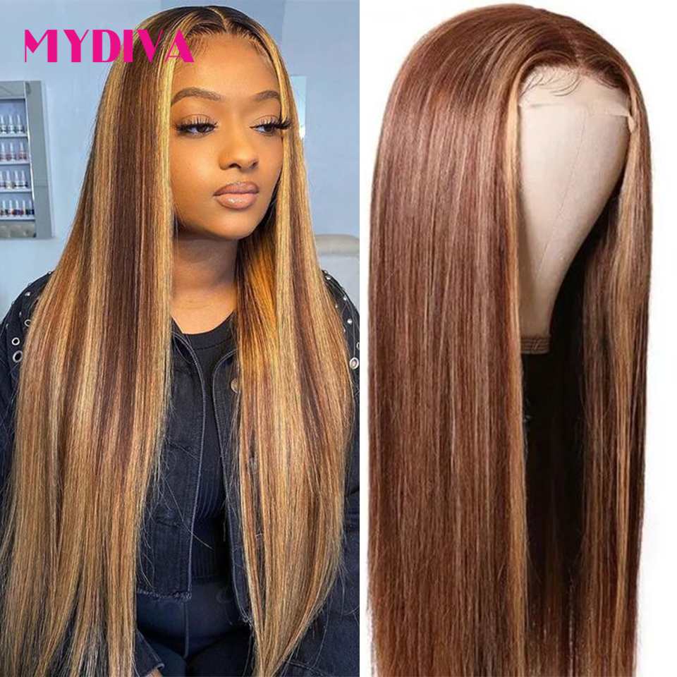 Middle Part Lace Front Human Hair Wig Brazilian Straight 4/27 Ombre Highlight 13x1 Human Hair Lace Part Wigs Pre Plucked Remy