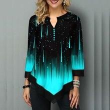 Blusa de rayas para mujer, blusa de talla grande 5XL con estampado Irregular de manga 3/4, Túnica informal para primavera y otoño 2020