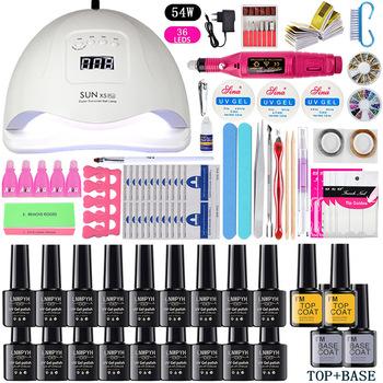 LNWPYH zestaw do paznokci lampa susząca UV LED z 18 12 sztuk zestaw żelowy lakier do paznokci soak off narzędzia do manicure elektryczna wiertarka do paznokci akcesoria do paznokci tanie i dobre opinie CN (pochodzenie) Zestaw kit nails Set for nails Tools 1 set Z tworzywa sztucznego gel nail set 24W 54W 12 18 colors