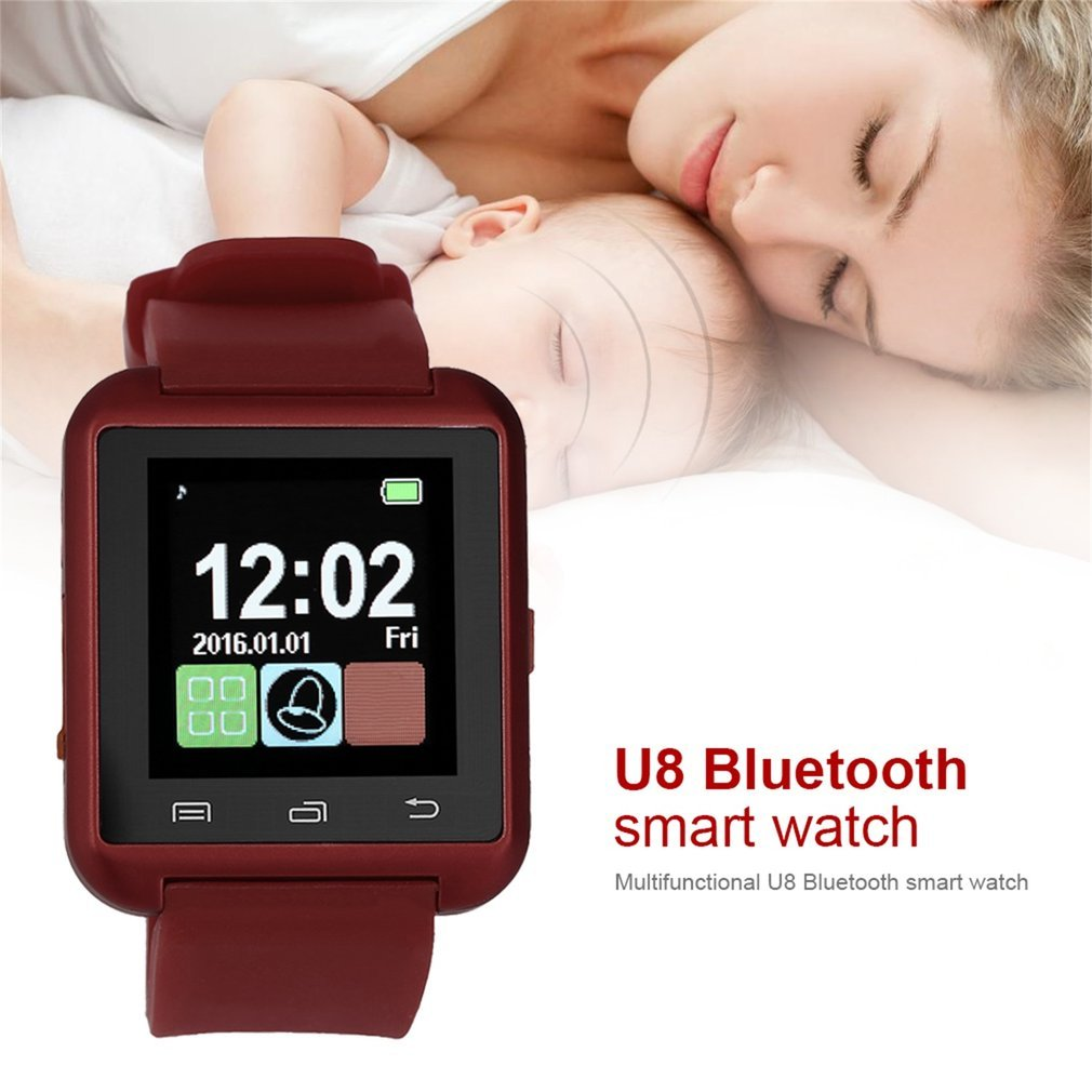 Black White Red Steel + Silicon Sports Smart Wrist Watch Phone Mate U8 V3.0 + EDR For iPhone IOS System