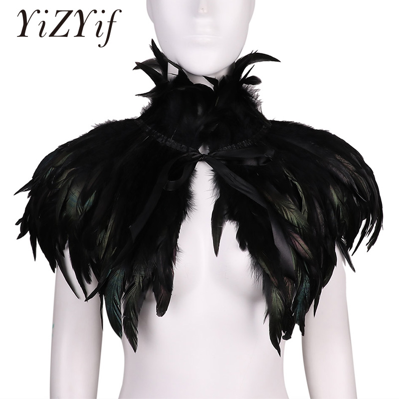 Feather Shawl Cape Gothic Victorian Scarf Poncho Wrap Natural Feather Choker Collar Cape Shawl Stole Halloween Cosplay Costume