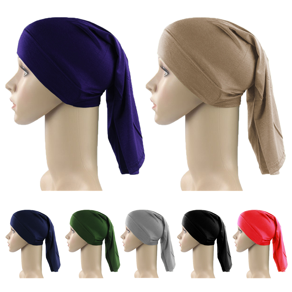 Muslim Cotton Underscarf Cap Long Inner Hijab Hat Islamic Hejab Headwrap Solid Stretch Headwear Arab Headscarf Baggy Bone Bonnet