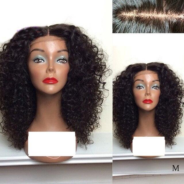 LUFFYHAIR קינקי קרלי משי בסיס תחרה קדמי פאות אמצע חלק 150% צפיפות ברזילאי רמי שיער משי למעלה תחרה קדמית שיער טבעי פאות