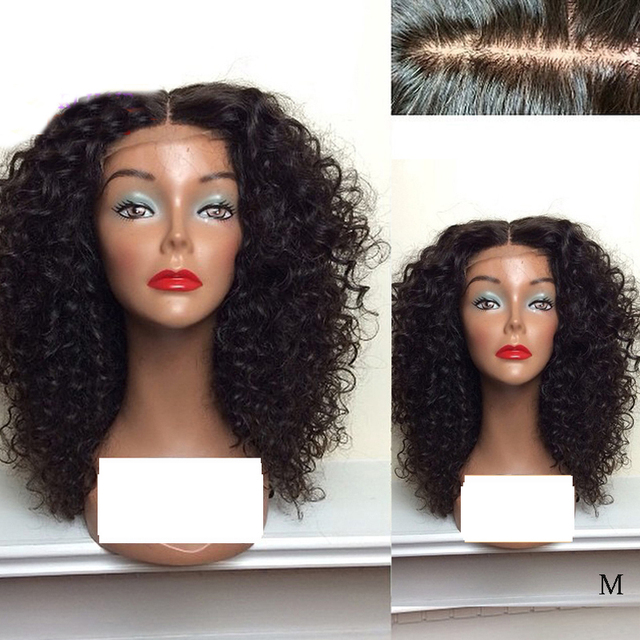 LUFFYHAIR Kinky Curly Silk Base Lace Front Wigs Middle Part 150% Density Brazilian Remy Hair Silk Top Lace Front Human Hair Wigs