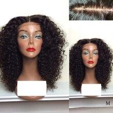 LUFFYHAIR, pelucas con Base de seda rizada, encaje frontal, parte media, 150% de densidad, pelo brasileño Remy, pelucas de cabello humano con encaje frontal